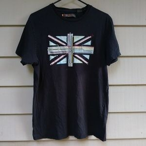 🌐$10 Ben Sherman British Flag Transit T Shirt XL